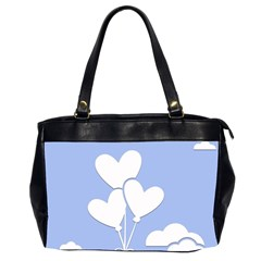 Clouds Sky Air Balloons Heart Blue Office Handbags (2 Sides)