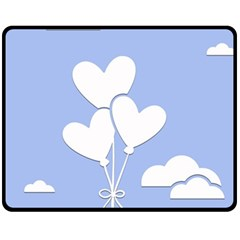 Clouds Sky Air Balloons Heart Blue Fleece Blanket (medium)