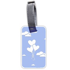 Clouds Sky Air Balloons Heart Blue Luggage Tags (one Side)