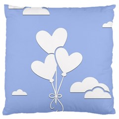 Clouds Sky Air Balloons Heart Blue Large Cushion Case (two Sides)