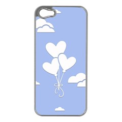 Clouds Sky Air Balloons Heart Blue Apple Iphone 5 Case (silver)