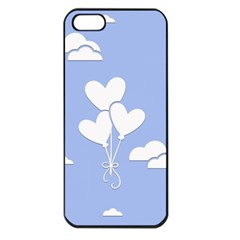 Clouds Sky Air Balloons Heart Blue Apple Iphone 5 Seamless Case (black)