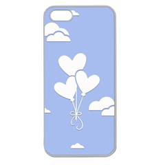 Clouds Sky Air Balloons Heart Blue Apple Seamless Iphone 5 Case (clear)