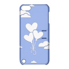 Clouds Sky Air Balloons Heart Blue Apple Ipod Touch 5 Hardshell Case With Stand