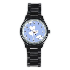 Clouds Sky Air Balloons Heart Blue Stainless Steel Round Watch