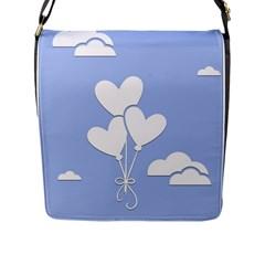 Clouds Sky Air Balloons Heart Blue Flap Messenger Bag (l)
