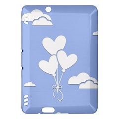 Clouds Sky Air Balloons Heart Blue Kindle Fire Hdx Hardshell Case