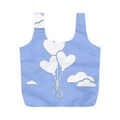 Clouds Sky Air Balloons Heart Blue Full Print Recycle Bags (m)