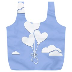 Clouds Sky Air Balloons Heart Blue Full Print Recycle Bags (l)