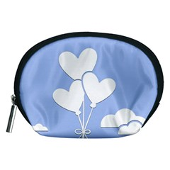 Clouds Sky Air Balloons Heart Blue Accessory Pouches (medium)