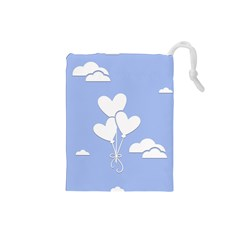 Clouds Sky Air Balloons Heart Blue Drawstring Pouches (small)