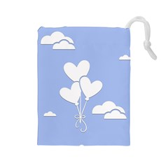 Clouds Sky Air Balloons Heart Blue Drawstring Pouches (large)