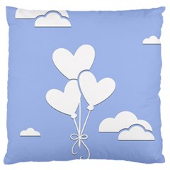 Clouds Sky Air Balloons Heart Blue Standard Flano Cushion Case (two Sides)