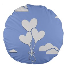 Clouds Sky Air Balloons Heart Blue Large 18  Premium Flano Round Cushions