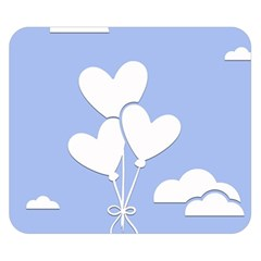 Clouds Sky Air Balloons Heart Blue Double Sided Flano Blanket (small)