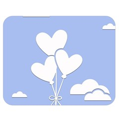 Clouds Sky Air Balloons Heart Blue Double Sided Flano Blanket (medium)
