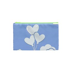 Clouds Sky Air Balloons Heart Blue Cosmetic Bag (xs)