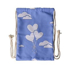 Clouds Sky Air Balloons Heart Blue Drawstring Bag (small)