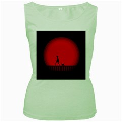 Girl Cat Scary Red Animal Pet Women s Green Tank Top