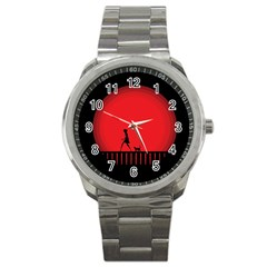 Girl Cat Scary Red Animal Pet Sport Metal Watch