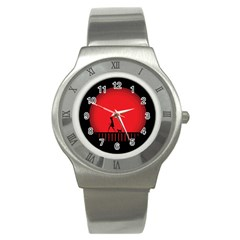 Girl Cat Scary Red Animal Pet Stainless Steel Watch