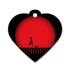 Girl Cat Scary Red Animal Pet Dog Tag Heart (one Side)