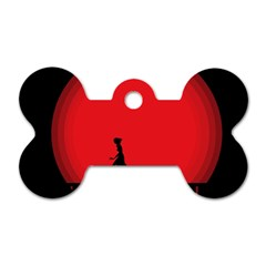 Girl Cat Scary Red Animal Pet Dog Tag Bone (one Side)
