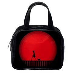 Girl Cat Scary Red Animal Pet Classic Handbags (one Side)
