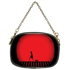 Girl Cat Scary Red Animal Pet Chain Purses (one Side)