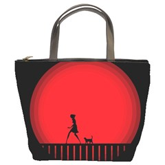 Girl Cat Scary Red Animal Pet Bucket Bags