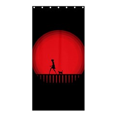 Girl Cat Scary Red Animal Pet Shower Curtain 36  X 72  (stall)