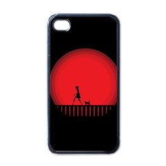 Girl Cat Scary Red Animal Pet Apple Iphone 4 Case (black)