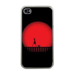 Girl Cat Scary Red Animal Pet Apple Iphone 4 Case (clear)