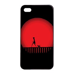 Girl Cat Scary Red Animal Pet Apple Iphone 4/4s Seamless Case (black)