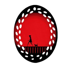 Girl Cat Scary Red Animal Pet Ornament (oval Filigree)