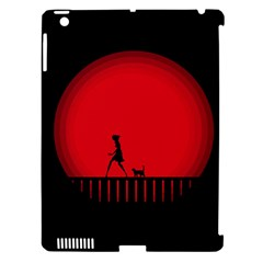 Girl Cat Scary Red Animal Pet Apple Ipad 3/4 Hardshell Case (compatible With Smart Cover)