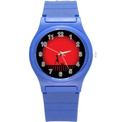 Girl Cat Scary Red Animal Pet Round Plastic Sport Watch (s)