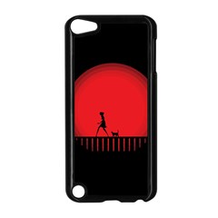 Girl Cat Scary Red Animal Pet Apple Ipod Touch 5 Case (black)