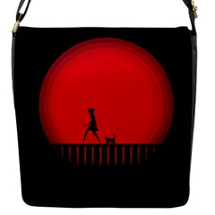 Girl Cat Scary Red Animal Pet Flap Messenger Bag (s)
