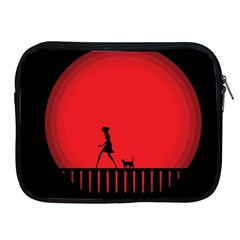 Girl Cat Scary Red Animal Pet Apple Ipad 2/3/4 Zipper Cases
