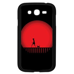 Girl Cat Scary Red Animal Pet Samsung Galaxy Grand Duos I9082 Case (black)