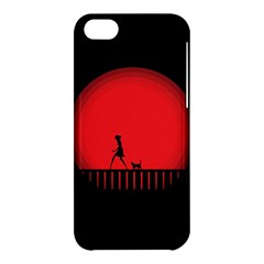 Girl Cat Scary Red Animal Pet Apple Iphone 5c Hardshell Case