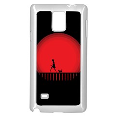 Girl Cat Scary Red Animal Pet Samsung Galaxy Note 4 Case (white)