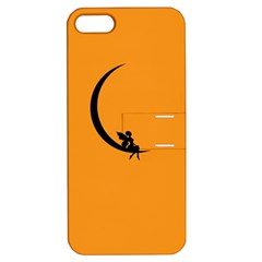 Angle Moon Scene Girl Wings Black Apple Iphone 5 Hardshell Case With Stand