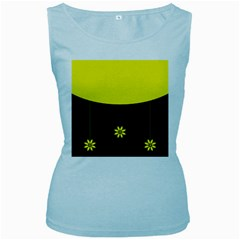 Flower Land Yellow Black Design Women s Baby Blue Tank Top