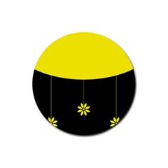 Flower Land Yellow Black Design Rubber Round Coaster (4 Pack)