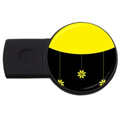 Flower Land Yellow Black Design Usb Flash Drive Round (4 Gb)
