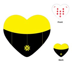 Flower Land Yellow Black Design Playing Cards (heart)