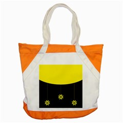 Flower Land Yellow Black Design Accent Tote Bag