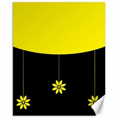 Flower Land Yellow Black Design Canvas 11  X 14